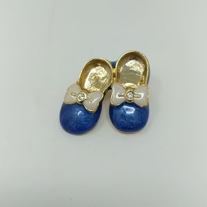 Adorable Blue Bow Ribbon Enamel Shoe Pin Brooch